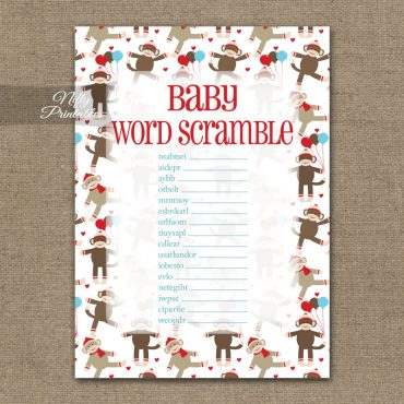 Baby Shower Word Scramble Game - Sock Monkey