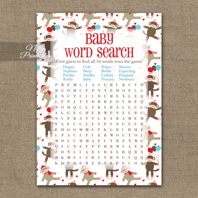 Baby Shower Word Search Game - Sock Monkey