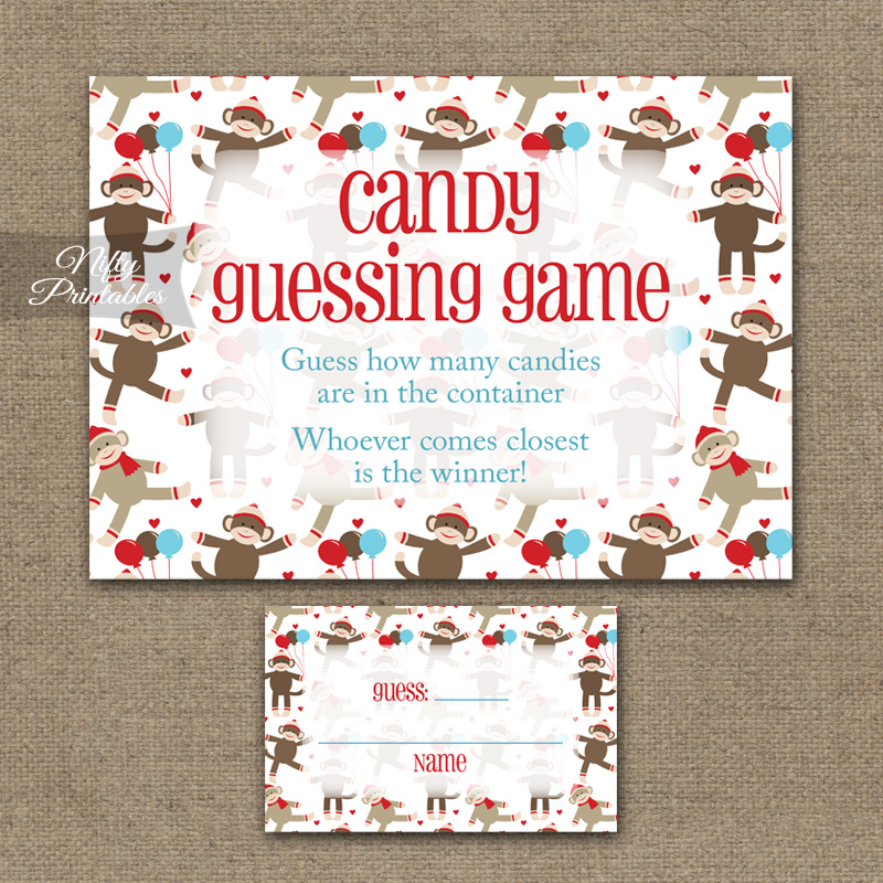 Candy Guessing Game - Sock Monkey