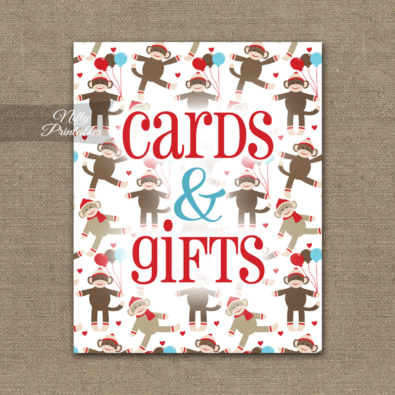 Cards & Gifts Sign - Sock Monkey