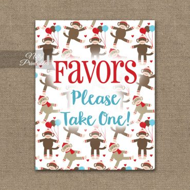 Favors Sign - Sock Monkey