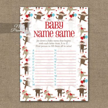 Name Game Baby Shower - Sock Monkey