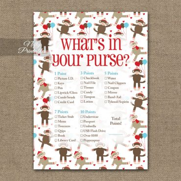 What's In Your Purse Game - Sock Monkey