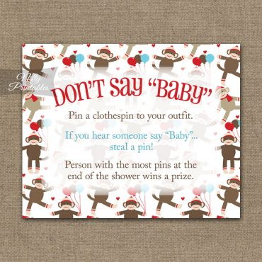 Don't Say Baby Shower Game - Sock Monkey