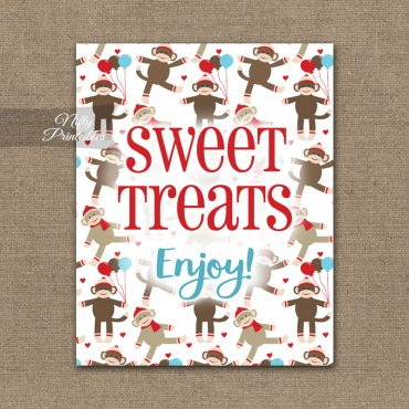 Sweet Treats Dessert Sign - Sock Monkey