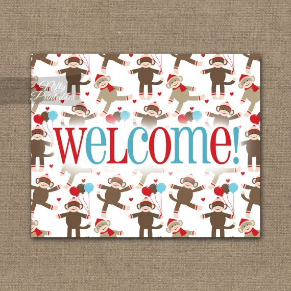 Welcome Sign - Sock Monkey