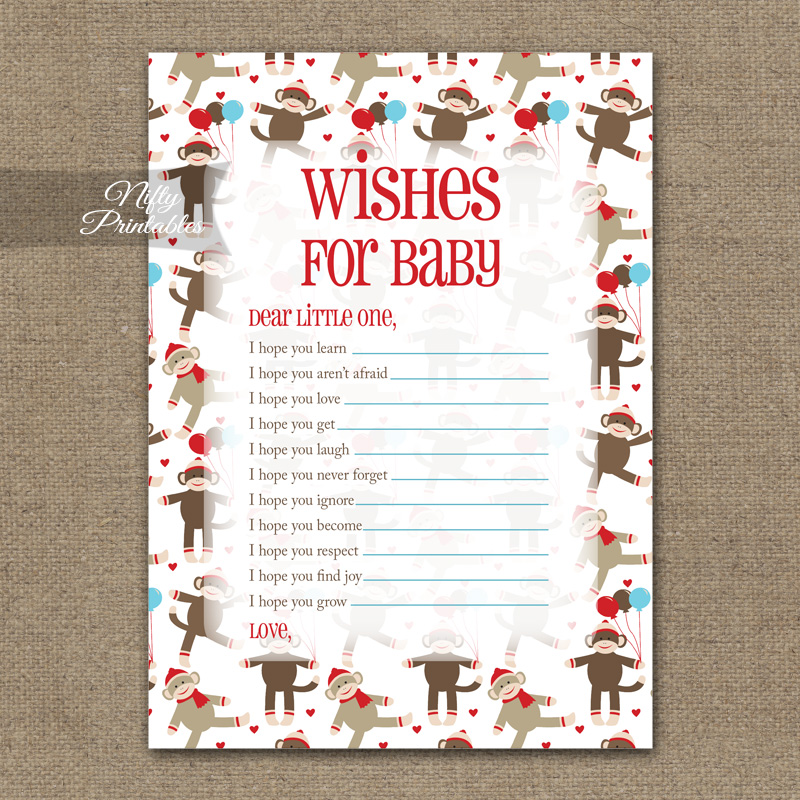Wishes For Baby Shower Game - Sock Monkey