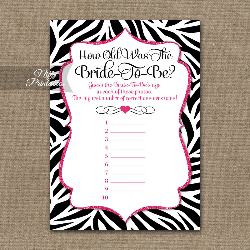 How Old Is The Bride Shower Game - Zebra Pink