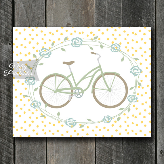 Bicycle Yellow Dots Print