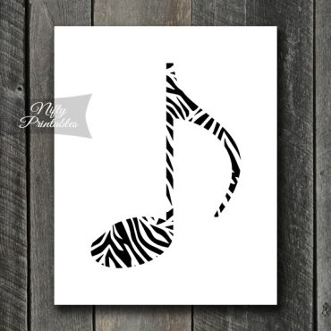 Zebra Music Note Print