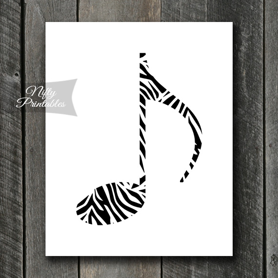 image regarding Music Note Printable titled Zebra Tunes Observe Print