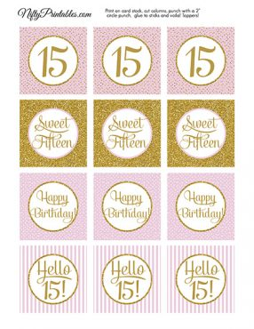 15 Sweet Fifteen Birthday Cupcake Toppers - Pink Gold