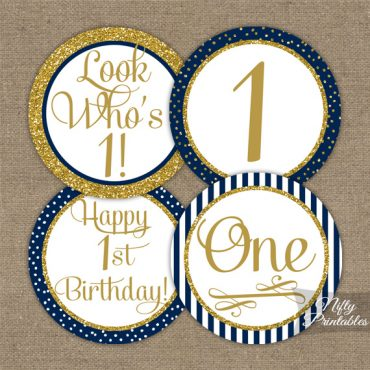 1st Birthday Cupcake Toppers - Navy Blue Gold