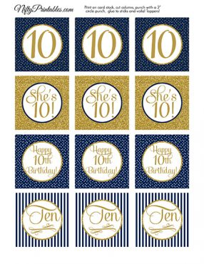 10th Birthday Cupcake Toppers - Navy Blue Gold