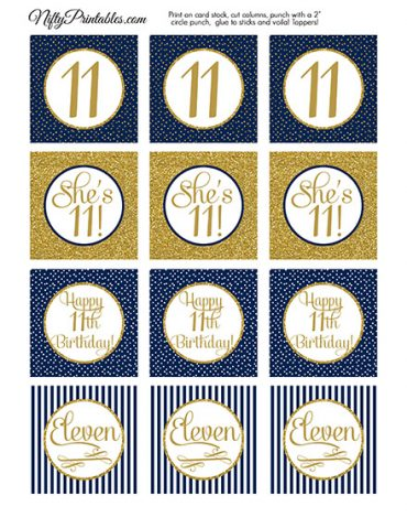 11th Birthday Cupcake Toppers - Navy Blue Gold