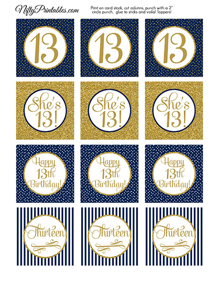 13th Birthday Cupcake Toppers - Navy Blue Gold