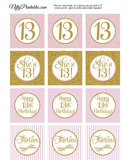 13th Birthday Cupcake Toppers - Pink Gold