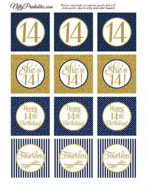 14th Birthday Cupcake Toppers - Navy Blue Gold
