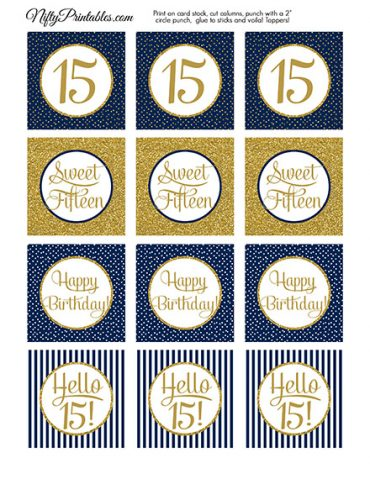 15th Birthday Cupcake Toppers - Navy Blue Gold