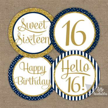 16th Birthday Cupcake Toppers - Navy Blue Gold