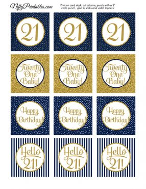 21st Birthday Cupcake Toppers - Navy Blue Gold