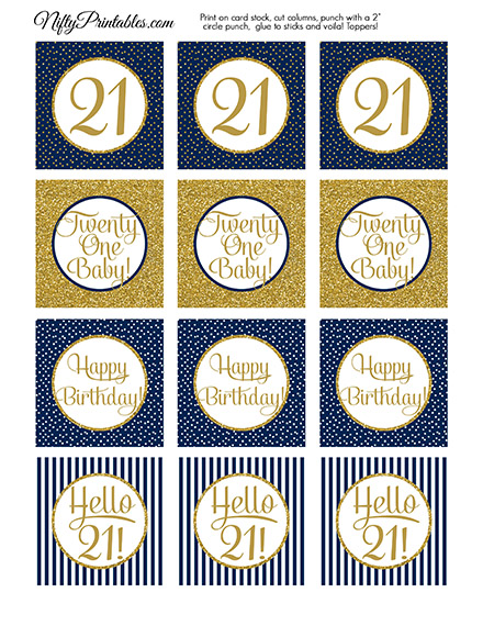 21st Birthday Cupcake Toppers Navy Blue Gold Nifty Printables