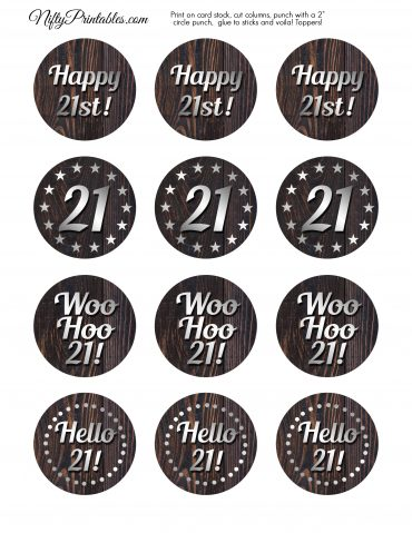 21st Birthday Cupcake Toppers - Rustic Wood