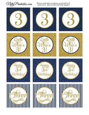 3rd Birthday Cupcake Toppers - Navy Blue Gold