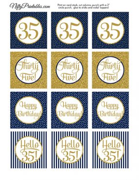 35th Birthday Cupcake Toppers - Navy Blue Gold