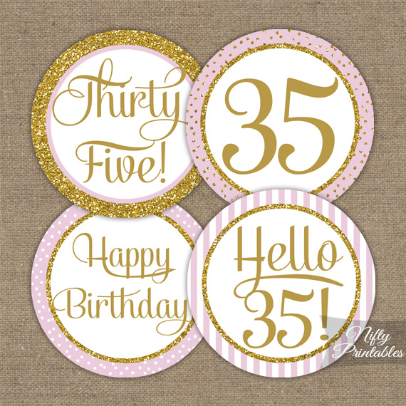 35th Birthday Cupcake Toppers - Pink Gold