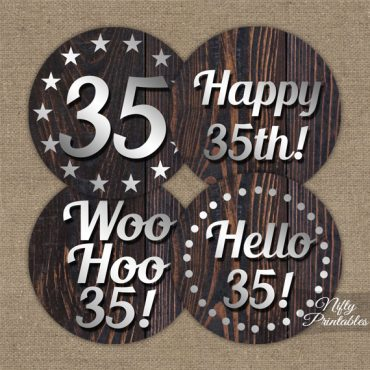 35th Birthday Cupcake Toppers - Rustic Wood