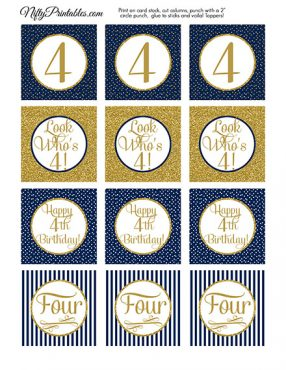 4th Birthday Cupcake Toppers - Navy Blue Gold