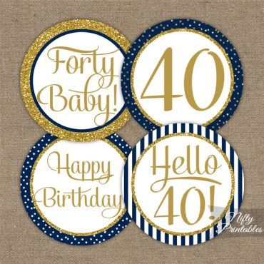 40th Birthday Cupcake Toppers - Navy Blue Gold