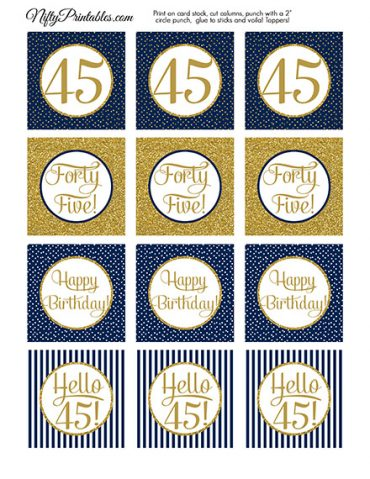 45th Birthday Cupcake Toppers - Navy Blue Gold