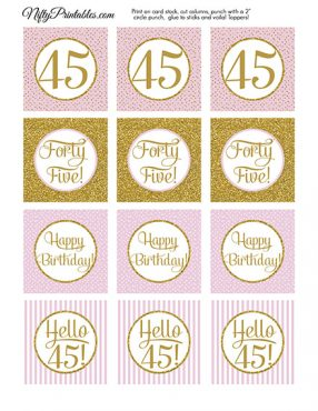 45th Birthday Cupcake Toppers - Pink Gold