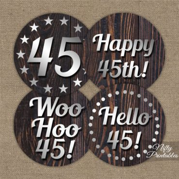 45th Birthday Cupcake Toppers - Rustic Wood