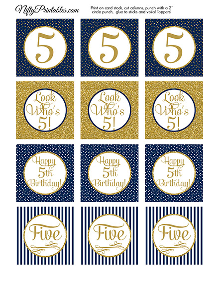 5th Birthday Cupcake Toppers - Navy Blue Gold