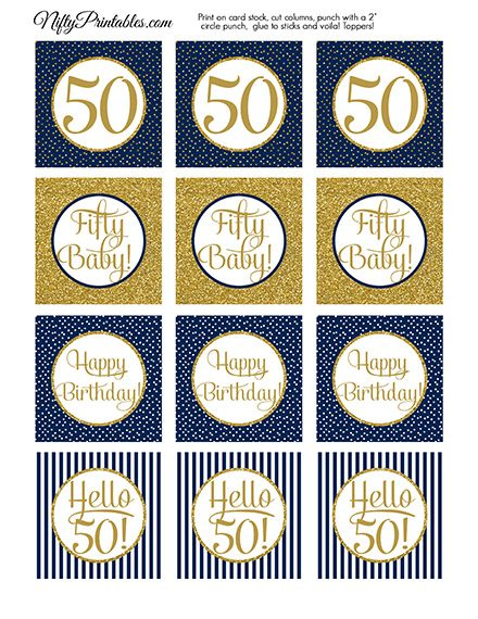 50th Birthday Cupcake Toppers - Navy Blue Gold