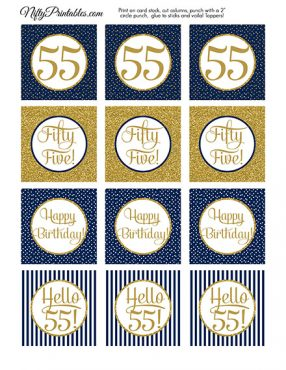 55th Birthday Cupcake Toppers - Navy Blue Gold