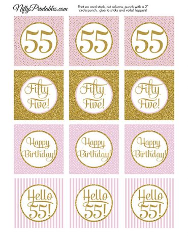 55th Birthday Cupcake Toppers - Pink Gold