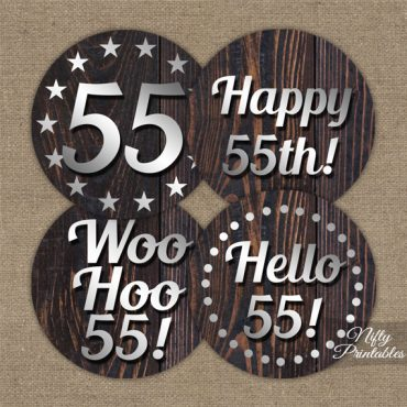 55th Birthday Cupcake Toppers - Rustic Wood
