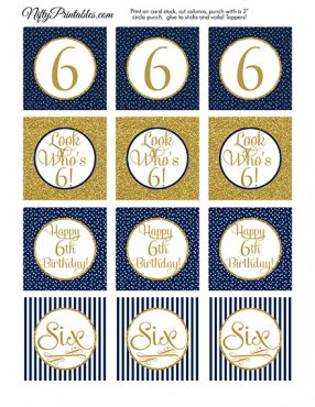 6th Birthday Cupcake Toppers - Navy Blue Gold