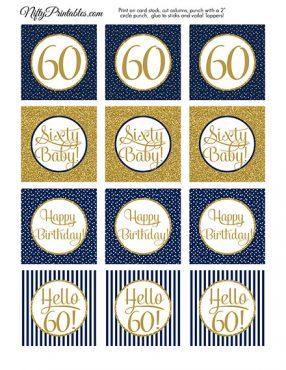 60th Birthday Cupcake Toppers - Navy Blue Gold