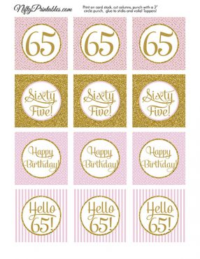 65th Birthday Cupcake Toppers - Pink Gold