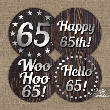 65th Birthday Cupcake Toppers - Rustic Wood