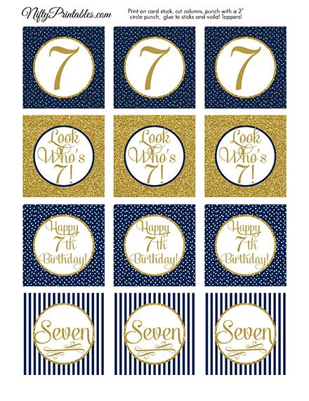 7th Birthday Cupcake Toppers - Navy Blue Gold