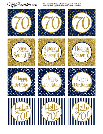 70th Birthday Cupcake Toppers - Navy Gold