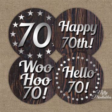 70th Birthday Cupcake Toppers - Rustic Wood