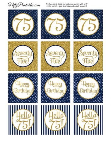 75th Birthday Cupcake Toppers - Navy Blue Gold