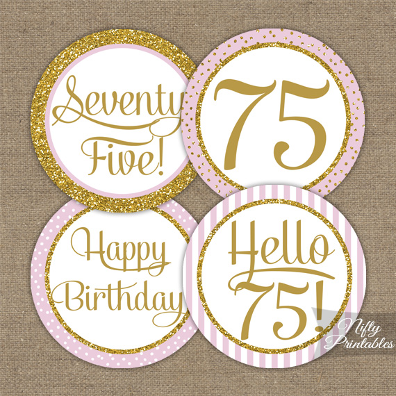 75th Birthday Cupcake Toppers - Pink Gold